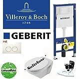 Geberit Duofix Vorwandelement Wand WC-Set + Villeroy&Boch Ceramicplus