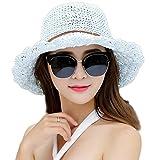 Drawihi Damen Sonnenhut Strohhut breite krempe Faltbar Sommer Strand Hut Uv Schutz Schlapphut für Outdoor-Aktivitäten (Hellblau) 52-55 cm