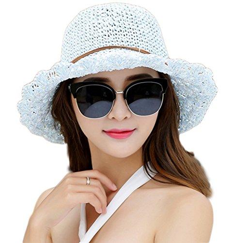 Qingsun Chapeau de Paille élégant Femmes été Plage Voyage Chapeau de Solei Visière Bonnet Casquette-Bleu Vert+ Blanc