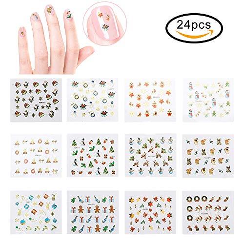 Weihnachten Nagelaufkleber,24 Teile/satz Nail Sticker, 3D Nail Art Sticker DIY Nagel dekoration Schneeflocken Maniküre Dekoration