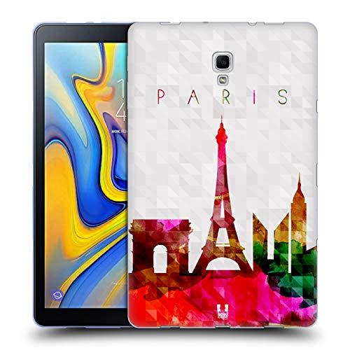 Frankreich-gel (Head Case Designs Eiffelturm Paris Frankreich Aquarell Skyline Soft Gel Hülle für Samsung Galaxy Tab A 10.5 (2018))