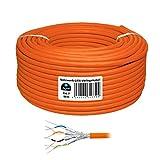 50m cat 7 HB-Digital Basic dünnes Netzwerkkabel LAN Verlegekabel Cabel Kupfer Profi S/FTP PIMF LSZH Halogenfrei orange RoHS-Compliant cat. 7