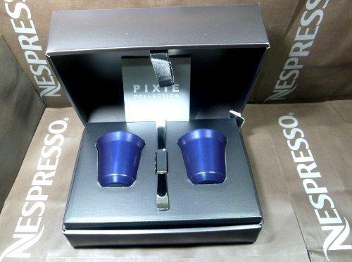 Nespresso Pixie Espresso Kazaar Lot de 2 gobelets/tasses en métal Bleu nuit