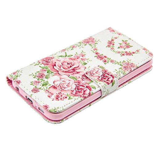 CareyNoce Apple 5C Coque,Flip Housse Etui Cuir PU Coque pour Apple iPhone 5C (4.0 pouces) -- DON'T TOUCH MY PHONE Rose rose