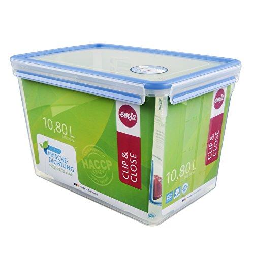 Emsa 508549 Rechteckige Frischhaltedose mit Deckel, 10.8 Liter, Transparent/Blau, Clip & Close -