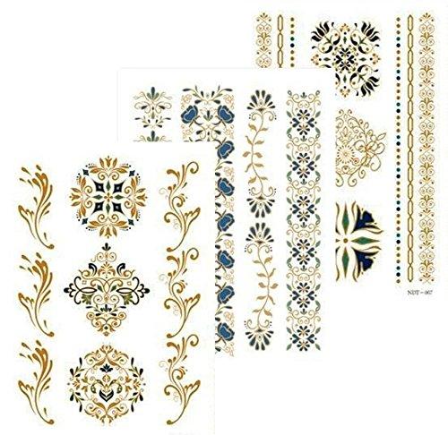 Metallic tatuaggi flash tattoos oro turchese gioielli tattoo tatuaggi temporanei adesivi per corpo set da pezzi