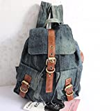 WanJiaMen'Shop Hand-held borsa denim lavato zaino multi-pocket borsetta borsa, una