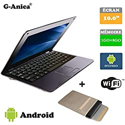 "G-Anica Netbook Ordinateur Portable HDMI écr.10.1""- (WiFi, Ethernet, 1.5GHz 1Go+ 8GO) Tablette - Google Android 4.4.2 -Noir+ Sac d'ordinateur Portable"
