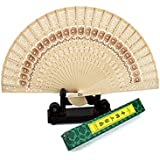 WSZYD imitation ventilateur pas cher pliage chinois bois de santal creux vent ventilateur artisanat ventilateur bois