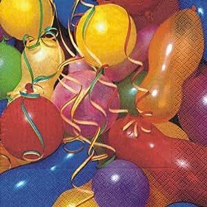 20 Servietten Colourful Ballons - Bunte Ballons / Geburtstag / Kindergeburtstag / Fasching / Karneval 33x33cm