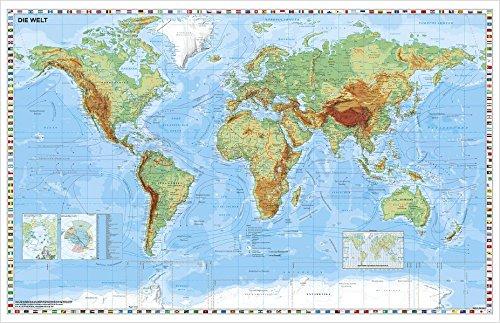 Weltkarte physisch - Wandkarte / Poster - 2 Riesen Poster