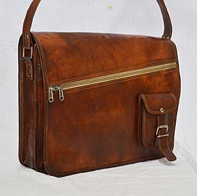 silkroude Vintage Besace en cuir véritable de chèvre du sacoche authentique sacoche pour ordinateur portable