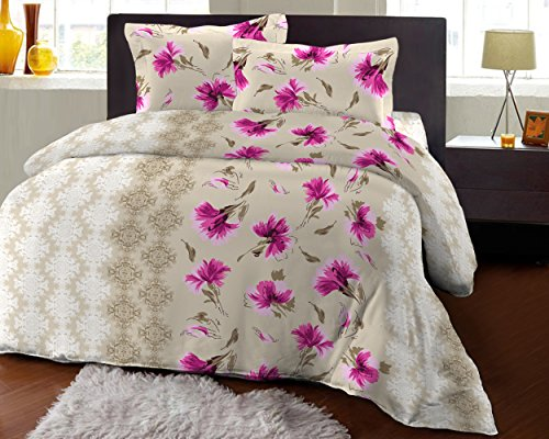 Bombay Dyeing Fair Mist Printed Double Bedsheet - DSN-1 - Poly cotton - 254 cm x 229 cm - Pink  available at amazon for Rs.699