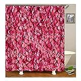 AnazoZ Rideau de Douche Pink Rose Fleur Polyester Imperméable Rideau de Baignoire Anti Moisissure