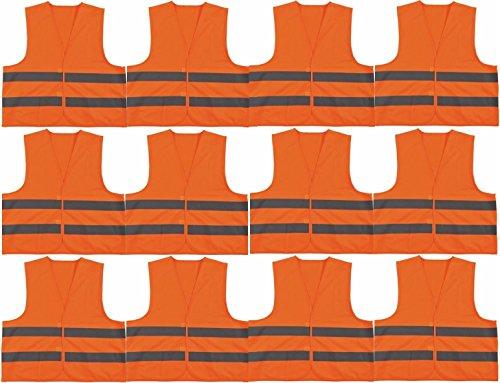 timtina® Warnweste ORANGE NEUE NORM (EN ISO 20471:2013) ERSETZT (EN 471) (12er Pack)