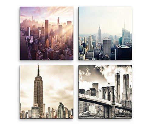 Brooklyn Bridge Lichter (4 teiliges Leinwandbild je 20x20cm - New York Brooklyn Bridge Skyline)
