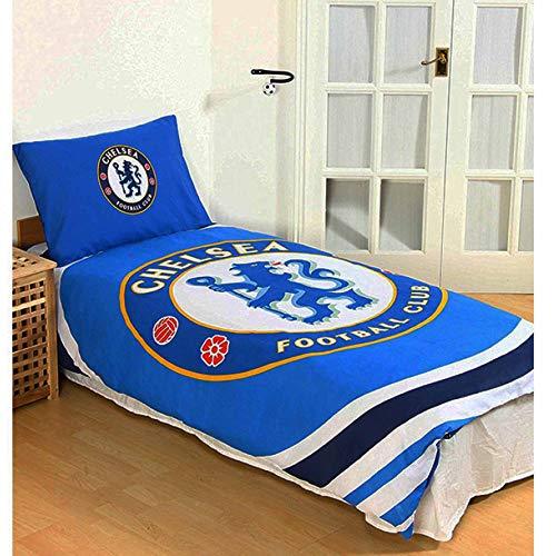 Officiel Chelsea FC Ensemble de Housse de Couette Simple avec taie d'oreiller (réversible)