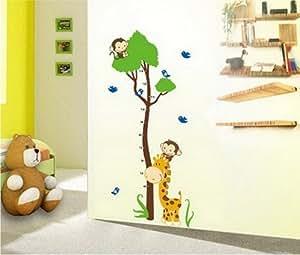 Sticker mural arbre de singe et girafe ruban à mesurer critère Stickers muraux croissance Tableau mur cadeau autocollant pour les enfants Gr . 60 * 90cm