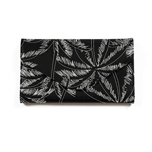 Weiße Kontur-Palmen auf schwarzem Reisepass-Geldbeutel Dreifach gefalteter Dokumentenorganisator-Halter-personalisierter Pass-Halter-Fall Kühler Pass-Fall