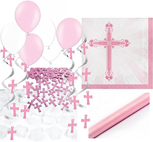 XXL 64 Teile Baby Taufe in Rosa Partydekoration Set für bis zu 36 Personen - Kreuz Dekoration