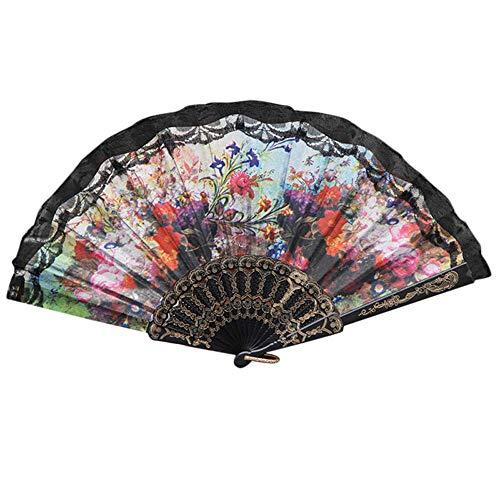 Puff Herr Kostüm - AZZRA schwarz handfächer japanischer faltfächer klappfächer Vintage Stil Damen Herren Bambus fächer ideal als Hochzeit Geschenk Party kostüm Tuch Dekoration (B)