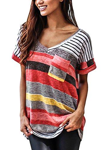 Yidarton Damen Tops Sommer Buntes Gestreiftes Loose Kurzarm V-Ausschnitt Shirt Hemd Bluse T-Shirt (L/ EU 40-42, Rot) (Zurück V-ausschnitt Tunika)