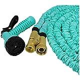 KDGWD Pistola de RiegoTubo de manguera de jardín ligero expansible se expande hasta 3x de longitud en uso y los contratos de regreso para el almacenamiento de alta presión pistola de agua de alta presión de 50 pies (luz azul)