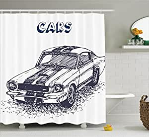 Apartment decor shower curtain set by ambesonne grunge for Car themed kitchen