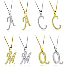 Epinki Chapado en Oro Colgante Alfabeto 26 Letras Zirconia Cúbica Mujer Colgante