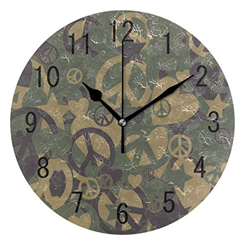 Use7 Home Decor Militär Camouflage Peace Zeichen Love Heart Runde Acryl Wanduhr Non-Ticking Silent Clock Art für Wohnzimmer Küche Schlafzimmer -