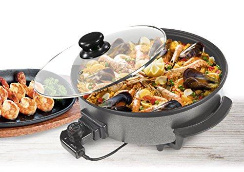 SOGO SS-10095 - Sartén Eléctrica, Pizza Pan, Multiuso con Tapa Cristal, Diámetro 36cm, Profundidad 7cm, 1500W, Base Antiadherente,Color: Negro