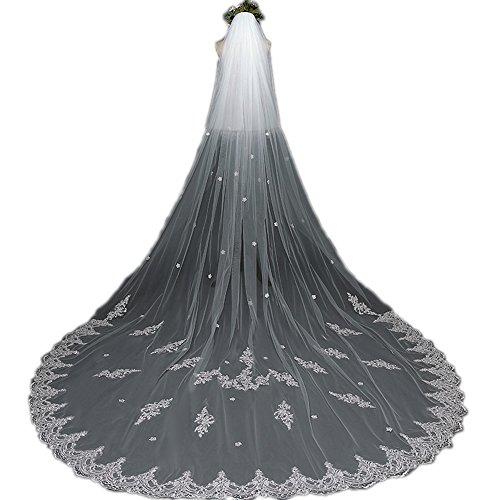 Jasno velo da sposa da cattedrale lunghezza con pettine da 3,8 m. velo da sposa con applicazioni in pizzo bianco