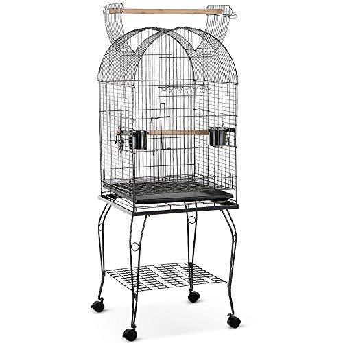 Ritioner Iron Bird Parrot Cage 3 zu öffnende Türen Play Top Macaw Cockatoo Conure Finch Cage + Edelstahlschale & abschließbare Räder Papageienkäfig für Wellensittiche/Lovebirds/Conures