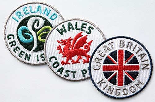 3er-Set Abzeichen gestickt 60 mm / Groß-Britannien Wales Irland / für Outdoor Wandern Reise Flagge Wappen Land / Aufnäher Aufbügler Flicken Sticker Patch / Buch Karte Reiseführer Königreich England