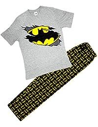 Hombre Oficial Batman Muerciélago Logo Camiseta Arriba Largo Pijamas De Algodón Tallas S M L XL