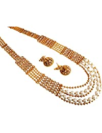 Traditional Copper Gold Three Line Layer Long Haram Necklace Set For Women Necklace Jewellery