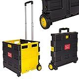 NOVESTE Einkaufstrolley Klappbar Einkaufswagen bis 35KG, Mit Rollen, Verstellbarer Griff (ohne Deckel, Schwarz-Gelb)