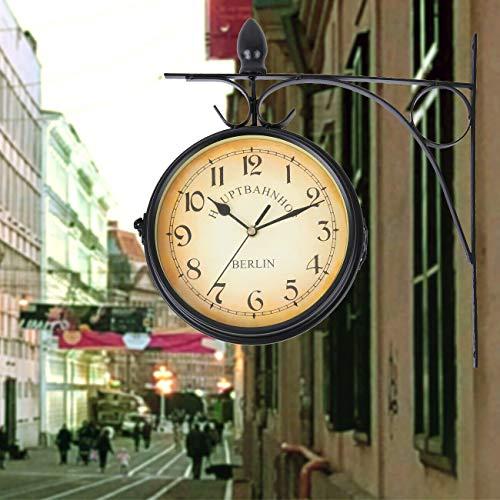 Samger Samger Horloge Double Face Jardin Train Gare Horloge Murale avec Support (Noir)