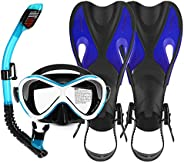 Honorall 3 PCS Kids Snorkeling Kit Swimming Goggles Dry Snorkel Tube Adjustable Fins