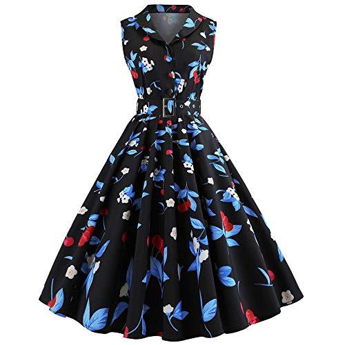 Frauen Vintage Print Sleeveless beiläufiges Abend Partei Abschlussball Schwingen Kleid Malloom Vintage Kleider 50er Jahre Knielang