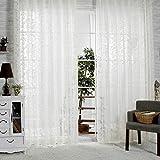 R. lang Slot Top Jacquard Voile Vorhänge Creme Weiß Verkauft Meterware, Elfenbeinfarben / Weiß, 90