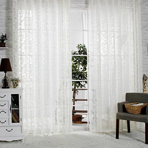 R.Lang Jacquard-Voile-Vorhänge, oben geschlitzt, Creme/Weiß, Meterware, elfenbeinfarben, 42