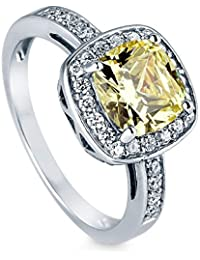 BERRICLE Rhodium Plated Sterling Silver Cushion Cut Cubic Zirconia CZ Halo Engagement Ring