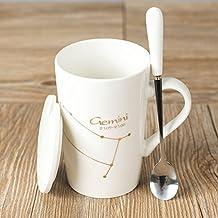 qwert Tazas de café Tazas de café,Taza 12 Copa constelación Tapa con Cuchara Los