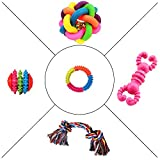 #10: Jainsons Pet Products Dog & Puppy Rubber Chew Toys, Multi Color Ball and Cotton Bone Chew Toy