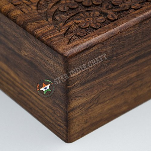 STAR INDIA CRAFT Handmade Rosewood Secret Enigma Puzzle Box With Hidden Compartment By Wooden Brainteaser
