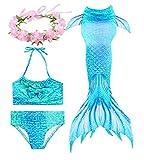 HiFunBay mädchen Meerjungfrau Schwanz Kinder Schwimmen Kostüm Enthalten 3 STÜCKE Bikini Badeanzug und Blumengirlande Stirnband (DH06-B07,130)
