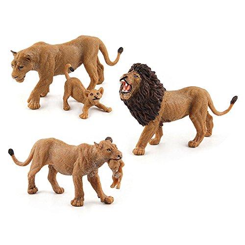 Dearmy Lebhaft Tier Afrika Familie von Löwe König Löwin Cub Vinyl Zahl Modelle Sammlung Lehrreich Spielzeuge Kinder Junge Schön Geburtstag Spielzeug Geschenk (Löwen Familie) -