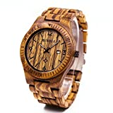 Bewell Herren Holz Quarz Armbanduhr Uhren mit Kalender Analog Elegante Armbanduhr w086b