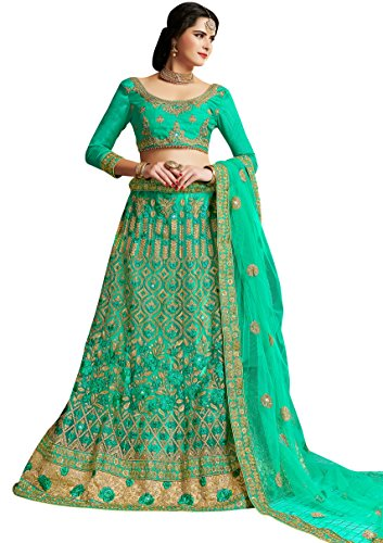 Women'S Green Color Embroidered Lehenga KNSH24703